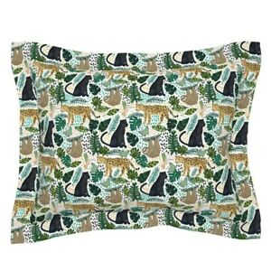 Jungle Animal Tangerinetane Panther Sloth Forest Leaves Pillow Sham by Roostery