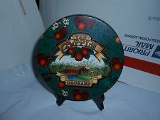 VTG THE APPLE ORCHARD DECORATIVE ROUND STORAGE TIN W/ LID FREE SHIPPING