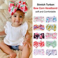 Stretch Turban Knot Head Wraps Boho Print Baby Girl Headband Bow Hairband Nylon
