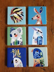 NEW Set of 6 Maxwell & Williams Pete Cromer coaster placemat Art Tableware 9.5cm