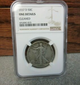 1937-D Walking Liberty Half Dollar NGC : Fine details : Cleaned