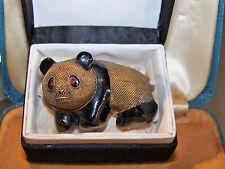 Vintage Dorado Plata chino esmalte de exportación Granate Panda Broche Pin en Caja