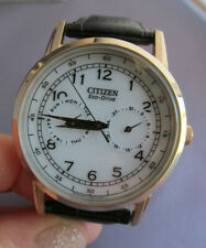 MEN'S Citizen Eco Drive Stainless Leather White Dial Day Date Watch 8635-S079756