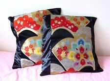 SET OF 2 HANDMADE BLACK  CUSHION COVER WITH VINTAGE JAPANESE OBI PANELED NEW