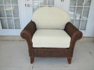 Henry Link By Lexington Rattan Frame Arm Chair With Leather Cushion Beige Color