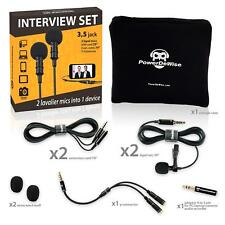 PowerDeWise - 2 Lavalier Lapel Microphones Set for Dual Interview
