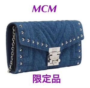 MCM Denim Chain Clutch Shoulder Bag Studs Indigo Blue Women's Limited From Japan