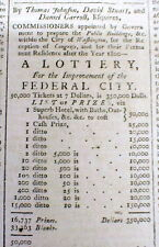1793 Philadelphia NEWSPAPER w Ad - LOTTERY to raise money for DC as US Capital