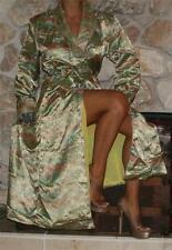 Large Gold Oriental Satin Vintage Lined Lingerie Long Jacket Robe Peignoir