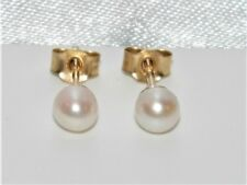 9ct Gold 4mm Real Cultured Pearl Ladies Stud Earrings - UK Made