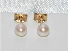 9ct Gold Real Cultured Pearl Ladies Stud Earrings - UK Made
