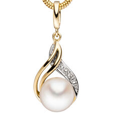 Anhänger 585 Gold Gelbgold 1 Süßwasser Perle 1 Diamant Brillant Perlenanhänger