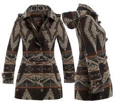 NEU Damen Wollmantel Damen Duffel Winterjacke Größe 8 10 12 14 16 braun Mantel