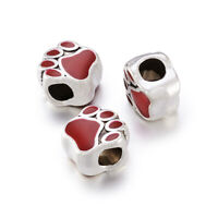 10pcs Dog Paw Prints Tone Alloy Enamel European Large Hole Beads Spacer 11x10mm