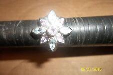 Multi Gemstone Flower Ring, Sterling Silver, Size 8.25
