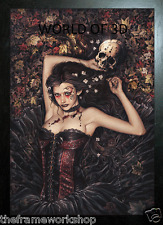 VICTORIA FRANCES BLACK FRAMED IRIA SKULL GIRL - 3D FANTASY PICTURE 365mm x 465mm