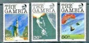 Gambia 1979, 10th Anniversary of Moon Landing  - Part Set of 3 sg424/6 MNH