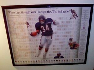 Walter Payton Career Stats Poster in Frame