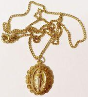 pendentif chaine bijou vintage couleur or médaille religieuse ND relief * 4257