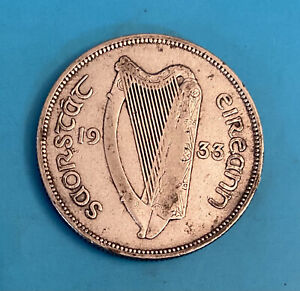 Foreign Silver Coin - 1933- 1 Florin - Ireland -VF+ (Low Mintage)