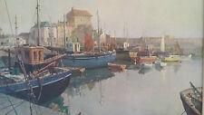 Vintage Retro Vernon Ward Wooden Framed Print Silent Harbour Mevagissey Cornwall