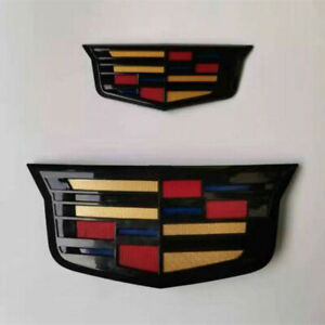 Black Gloss Front Grill Tailgate Emblem Badge for Cadillac ATS XTS 2015-2019