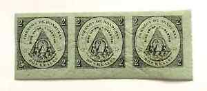 1866 Honduras Coat of Arms 2R Imperforated MNH 3 Stamp block