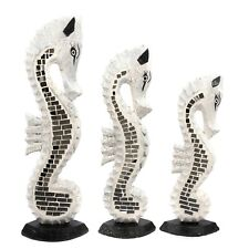 More details for hand carved wooden seahorse - white mirror - 40, 35, 30cm - sh-003-wh/mir