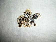 Brooch Pin Jewelry Pendant And Pin Large Elephant Gold & Silver 2-Tone Plated