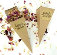 Biodegradable Personalised Kraft Confetti CONES + Dried Petal Wedding CONFETTI