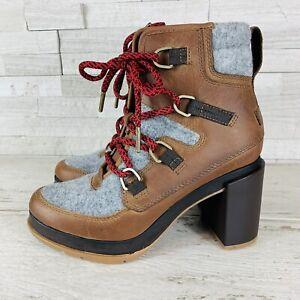 SOREL BLAKE Lace Up Leather/Felt Waterproof Booties Size 6 (Velvet Tan) NWOB