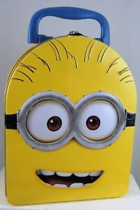Despicable Me MINIONS HEAD Tin Carry All Lunch Box Case TWO-EYED PHIL new