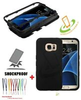 BLACK Hard HYBRID Silicone Rubber Protective Case Cover +Cord For SAMSUNG GALAXY