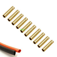 10 Female RC 4mm Gold Bullet Connectors INC Heat Shrink For Motor ESC UK