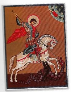 """RARE ICON """"ST GEORGE & THE DRAGON"""" NEEDLEPOINT TAPESTRY 30X40CM READY TO STITCH"""