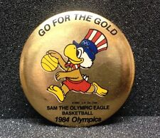 "[47823] 1984 OLYMPIC GAMES SOUVENIR PIN BACK ""SAM THE OLYMPIC EAGLE"" BASKETBALL"
