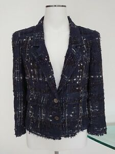 100%Auth CHANEL 06P  LESAGE METAL RIBBON TWEED BLAZER JACKET 38 36