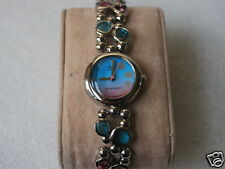 Nice Q&Q by Citizen Lady Fashion Watch w/Pink & Blue Dial & Unique Bracelet