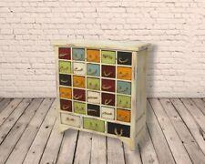 Vintage Retro Wooden 28 Drawer 52cm Multi Coloured Storage Cabinet - FREE P+P