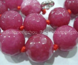 Natural 8mm Faceted Rose Red Ruby Round Gemstone Beads Necklace 18'' AA