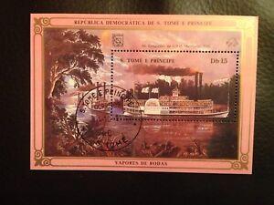 Briefmarke São Tomé und Príncipe Congresso da U.P.U. Hamburgo 1984 Sonderstempel