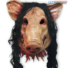 Halloween Creepy Animal Prop Latex Party Unisex Scary Pig Head Mask+Hair Cosplay