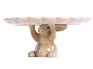 """Easter Bunny Holding Up Cake Plate Ceramic Pink Brown 12"""" Diameter 5.25"""" H NEW"""