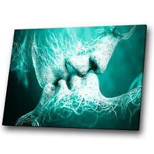 Green Teal White Kiss People Abstract Canvas Wall Art Large Picture Print