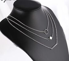 Multi Layer Circle Round Bar Pendant Necklace  Silver toned