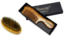 Greenity Green Sandalwood Anti Static Wooden Beard Comb and Bambo Brush SET