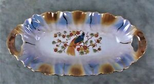 OVAL CERAMIC TINKET DISH W/EXOTIC BIRD AND FLOWERS MADE IN GERMANY
