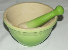 "LE CREUSET France Ceramic Mortar Pestle 20 oz ""Palm Green"" Good Used"