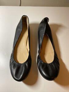 J Crew Leather Ballet Flats Black 9.5