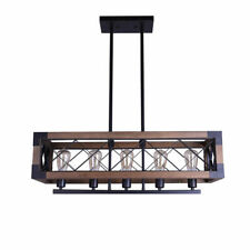 Industrial Loft Metal and Wood 5-Light Linear Pendant Light Dining Table Lamp